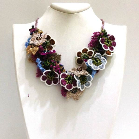 Sour Cherry Pink,Brown,Blue Bouquet Necklace - Crochet OYA Lace Necklace