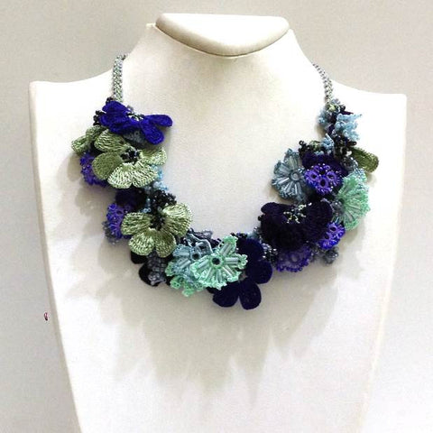 Green and Blue Bouquet Necklace - Crochet OYA Lace Necklace