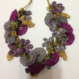 Grey and Plum Purple Bouquet Necklace - Crochet OYA Lace Necklace