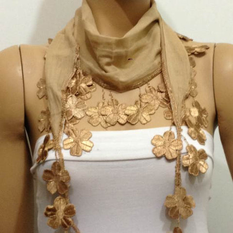 Camel Gold Fringed Scarf