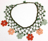 Salmon Pink, Burnt Orange and Green Choker Necklace with Crocheted Flower and semi precious JADE Stones