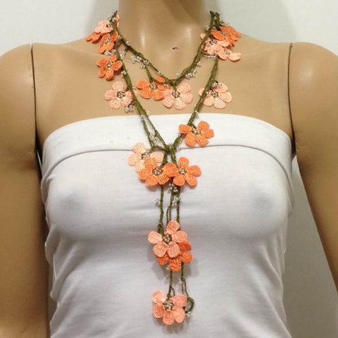 Salmon and Orange Crochet beaded flower lariat necklace with beads - Crochet Accessory - Turkish Crochet Oya - OYA Turkish Crochet Lace - Crochet Jewelry