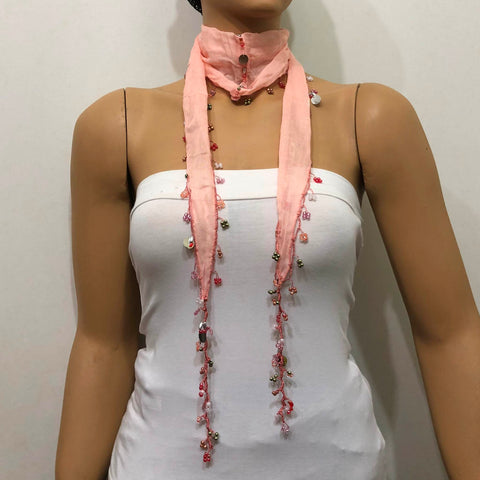 Light Pink Beaded Scarf Necklace - Handmade Crocheted Beaded Scarf - Salmon Pink scarf bandana