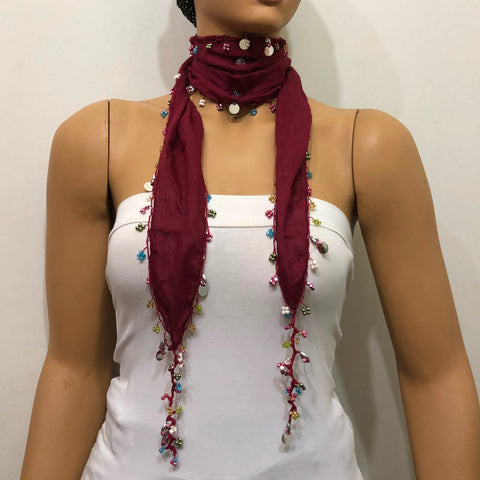 Burgundy Beaded Scarf Necklace - Handmade Crocheted Beaded Scarf -  bandana
