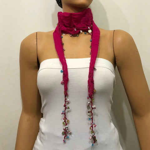 Sour Cherry Beaded Oya  Scarf Necklace - Handmade Crocheted -  bandana