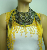 Oriental design scarf with yellow lace fringe