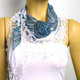 BLUE Geometric designed Scarf - SUN motif scarf with white lace fringe