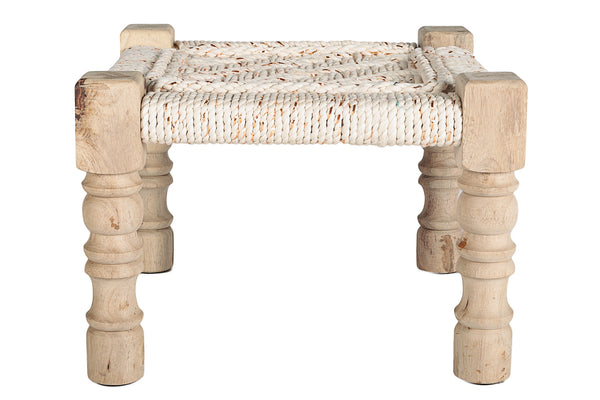 CHARPOY - BABY STOOL - COTON BLANC CASSE & OR