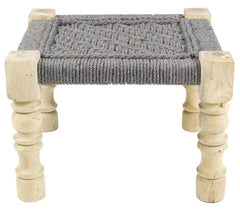CHARPOY - BABY STOOL - COTON GRIS & OR