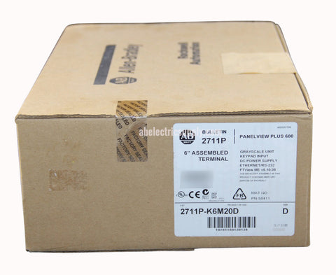 New surplus Sealed Allen Bradley Panelview Plus 600 2711P-K6M20D Ser D