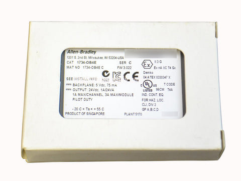 NEW Surplus Allen Bradley Source Output Module  1734-OB4E Ser C FW 3.022