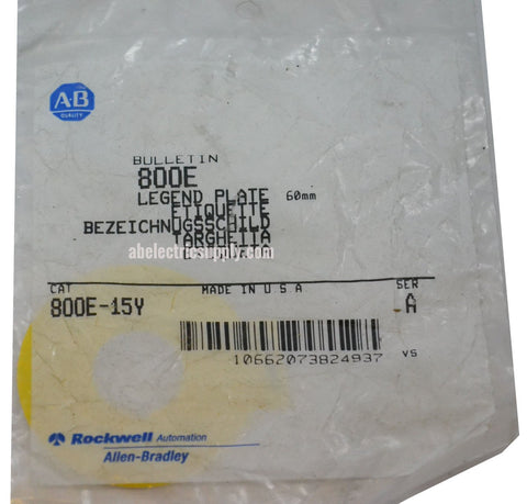 New Allen Bradley 800E-15Y Ser A LEGEND PLATE In Original Packaging