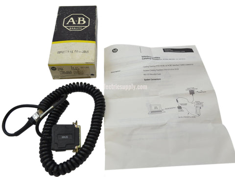 New Allen Bradley 2755-NCR2 Ser A RS-232 DTE MALE 8FT HAND HELD COILED CABLE In