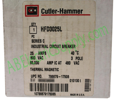 New Surplus Open Eaton Cutler-Hammer Circuit Breaker HFD3025L Ser C