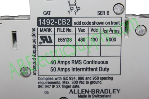 New Surplus Allen Bradley Circuit Breaker 1492-CB2-G500 Ser B
