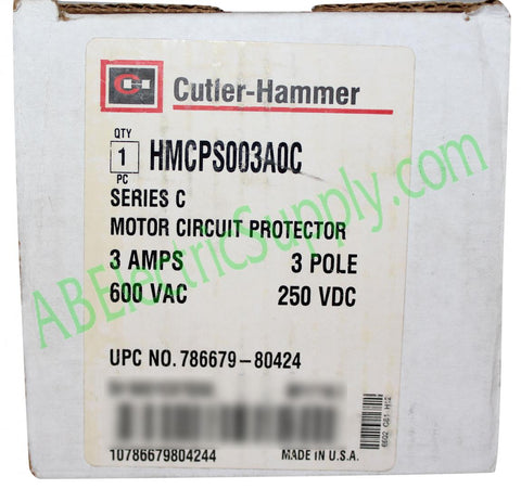 New Surplus Open Eaton Cutler-Hammer Thermal Magnetic Circuit Breaker HMCPS003A0C Ser C