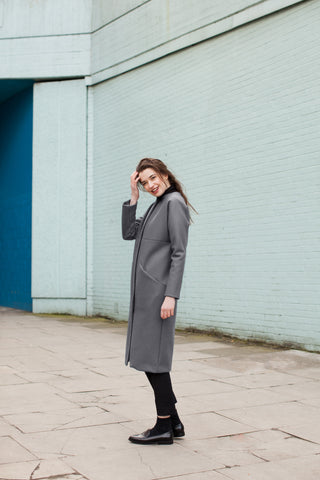Holi's Women's Sliced Kimono Coat - Grey (full view campaign)