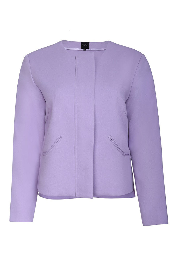 Curved Pocket Jacket - Lilac