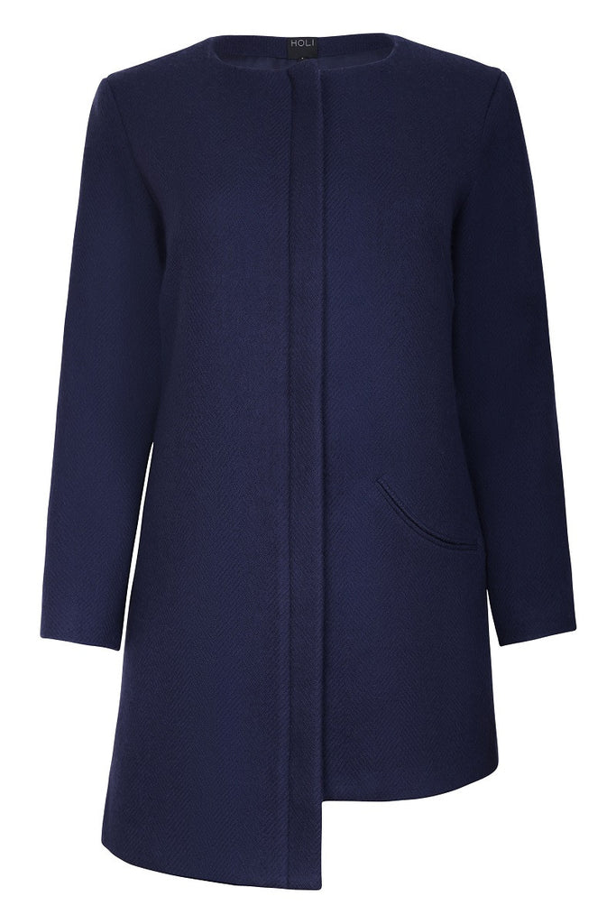 HOLI Womens Winter Navy Drop Panel Jacket - front