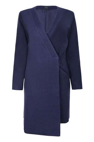Drop Panel Contrast Coat - Navy