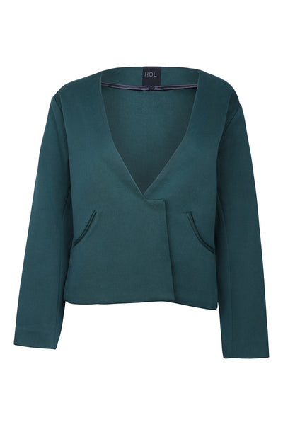 HOLI Forest Green Womens Autumn Oversized Blazer - front