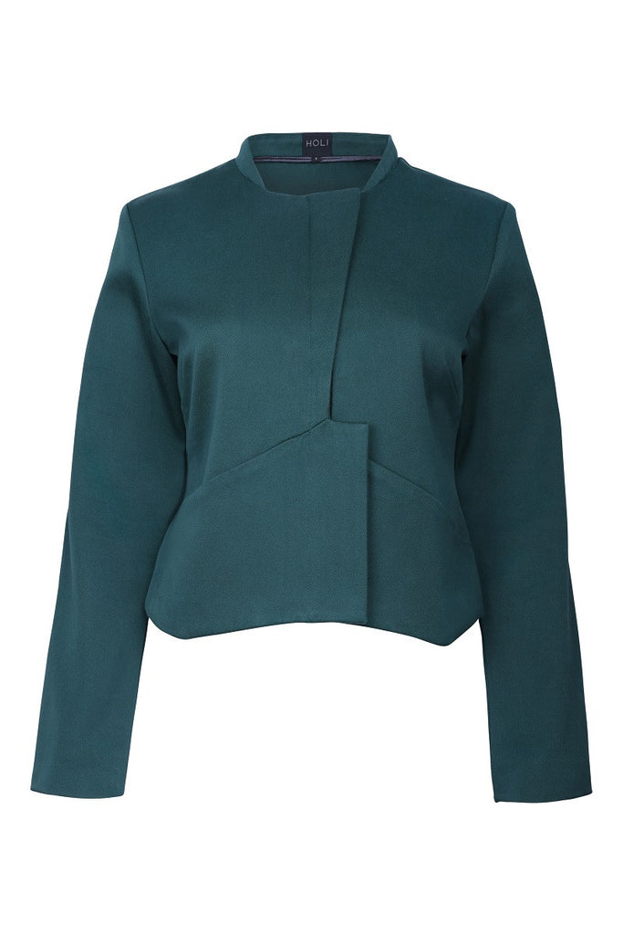 HOLI Womens Autumn Forest Green Cropped Jacket - front