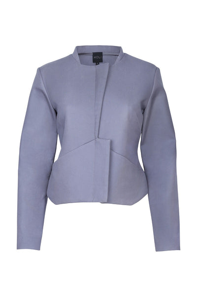 HOLI Womens Autumn Charcoal Grey Cropped Jacket - front