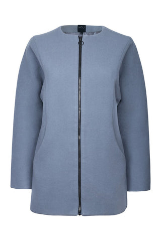 Deep Scooped Coat - Grey