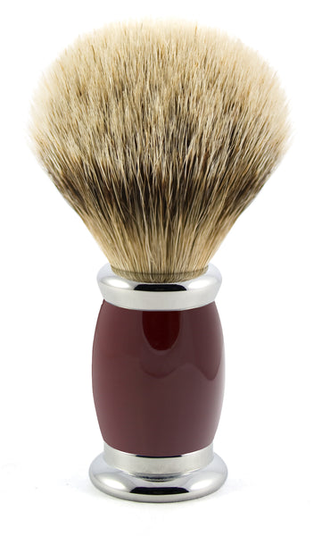 Edwin Jagger – Bulbous Red Silver Tip Shaving Brush