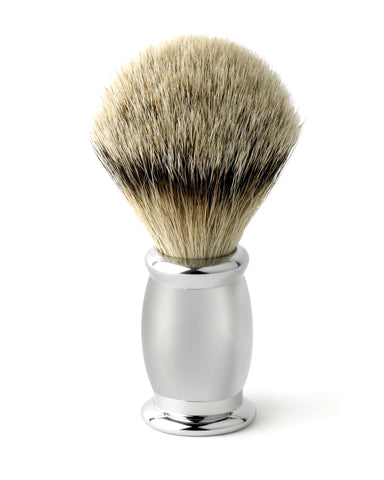 Edwin Jagger – Bulbous Satin Chrome Silver Tip Shaving Brush