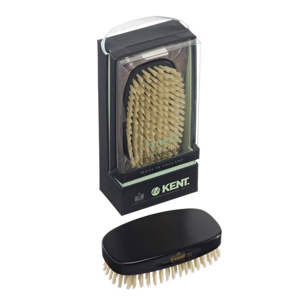 Kent – Military Ebony Wood White Bristle Brush MN1B