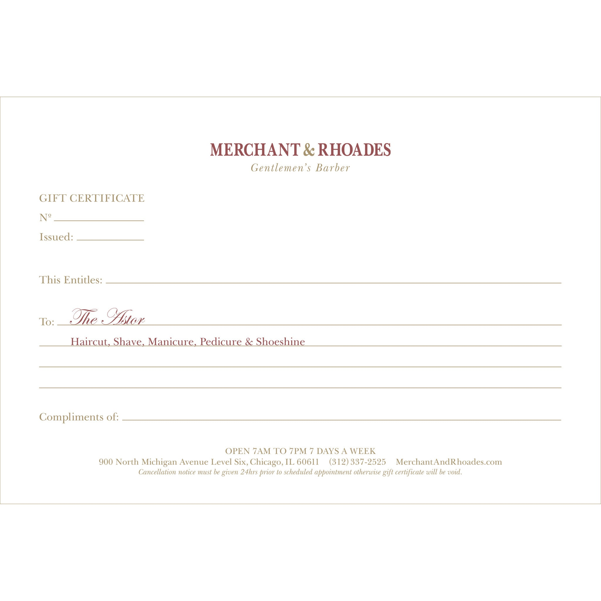"Merchant & Rhoades Gift Certificate (IN-STORE ONLY) - ""The Astor"" Package"