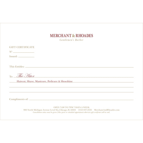"Merchant & Rhoades Gift Certificate (IN-STORE ONLY) - ""The State Street"" Package"