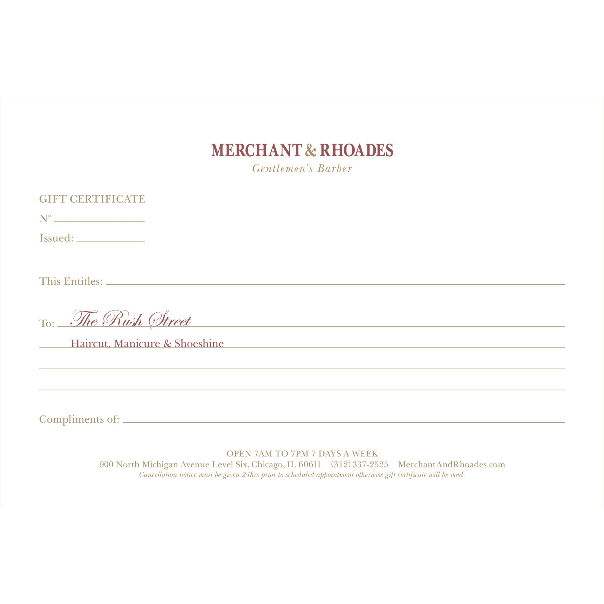 "Merchant & Rhoades Gift Certificate (IN-STORE ONLY) - ""The Rush Street"" Package"
