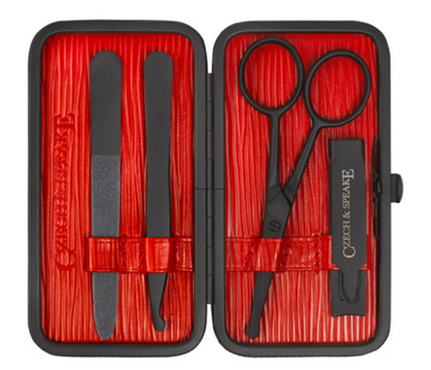Czech & Speake – Air-Safe Manicure Set - Red & Black