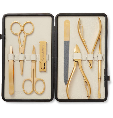 Gold Manicure Set – Cream & Stone