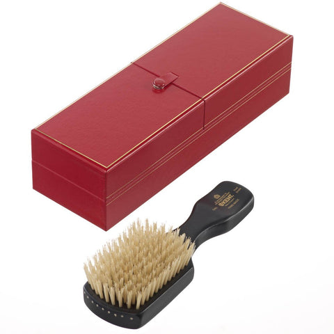 Handmade Ebony Wood White Bristle Brush - OHE1