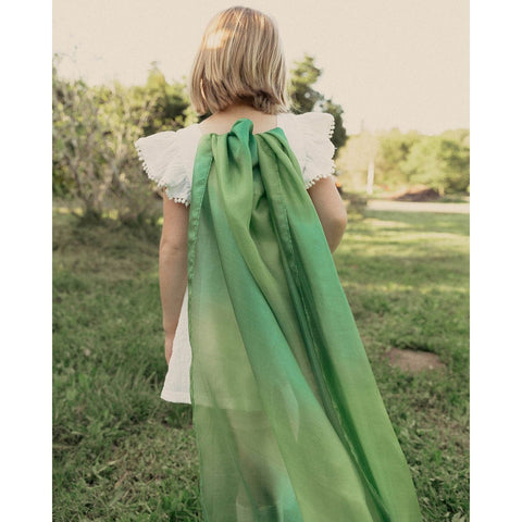 Green Sarah's Silk used as cape