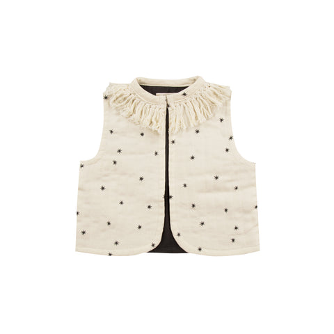 Starlight Print Fringe Vest in Cream and Black FRONT