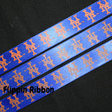 New York Mets Ribbon - 5/8 inch Printed Satin