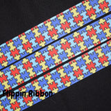 Autism Awareness Ribbon - 7/8 inch Printed Grosgrain