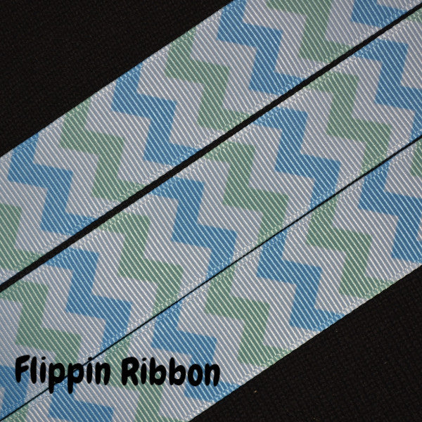 blue and green chevron ribbon