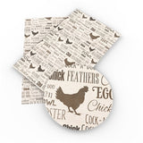 Chicken Themed Faux Leather - Flippin Ribbon