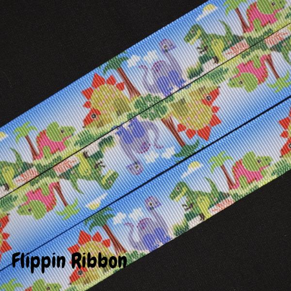 grosgrain dinosaur ribbon - Flippin Ribbon