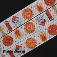 fire department printed grosgrain ribbon