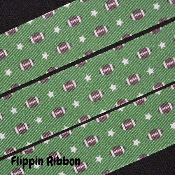 footballs and stars ribbon - Flippin Ribbon