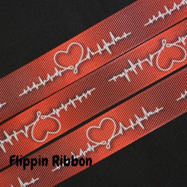 red heartbeat ribbon - Flippin Ribbon