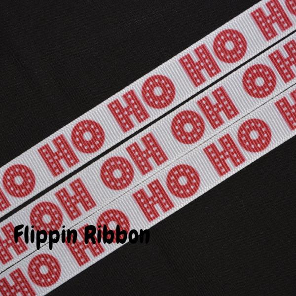 Ho Ho Ho grosgrain ribbon - Flippin Ribbon