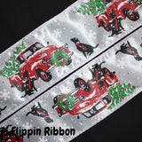 Red Truck Christmas Ribbon with Labrador - Flippin Ribbon