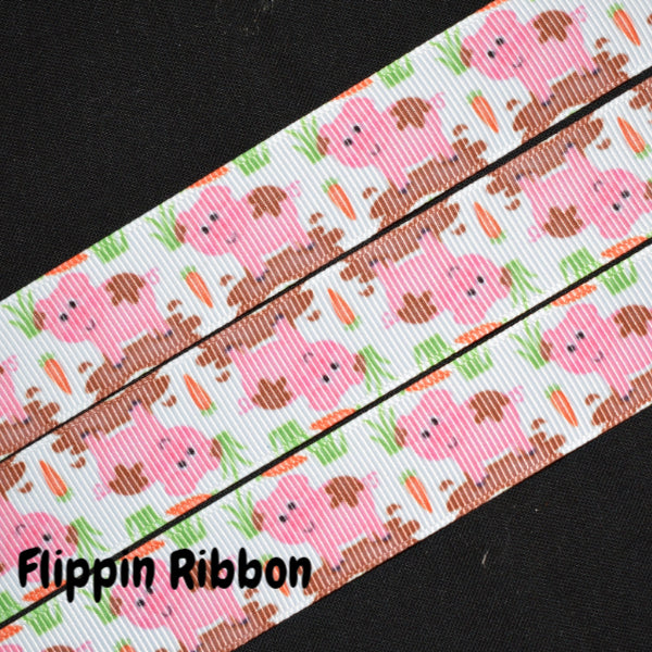 Muddy Pig Ribbon - 7/8 inch Printed Grosgrain